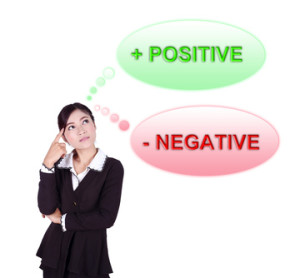 Business woman thinking about positive and negative thinking